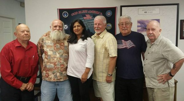 Irvine City Council candidate Farrah Khan (center, without facial hair) with OCVMP's Brian Chuchua, Peter Katz, Bill Cook, Louis Contreras. and ... wait. it'll come to me ....