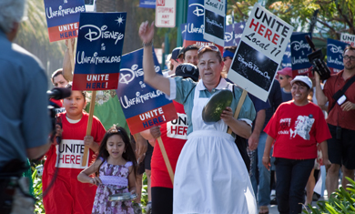UNITE-HERE workers protesting Disney in a previous local conflict.