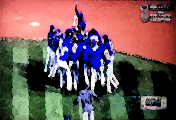 Cubs win!  Cubs win!  Took me a few minutes to finish the Leroy Nieman-style watercolor, but it was worth the wait!